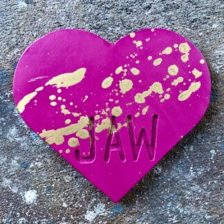 Magenta heart with gold splatters