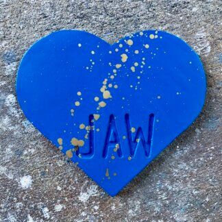 Blue heart with gold splatters